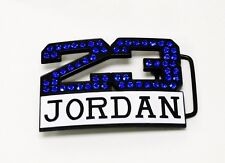 23 JORDAN BELT BUCKLE BLUE SILVER MICHAEL ICED RHINESTONE NBA DIAMOND BASKETBALL