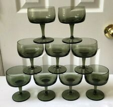 9 Gorham Crystal Accent Green Smoke Champagne / Tall Sherbet Glasses Goblets EUC