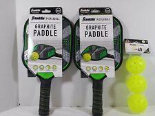 Pickle Ball Starter Kit- 2 Franklin Graphite Paddles/Racquets - 3 Outdoor Balls