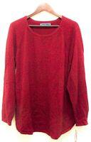 Karen Scott Women's Size 1X Boat Neck Long Sleeve Marled Sweater Top Dark Red