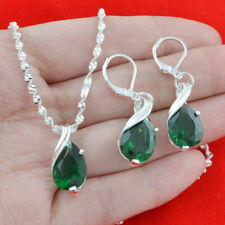 Chic 925 Silver Emerald Pendant Women Necklace Drop Earrings Set Jewelry Fashion