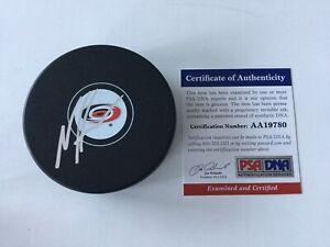 Noah Hanifin Signed Autographed Carolina Hurricanes Hockey Puck PSA DNA COA a