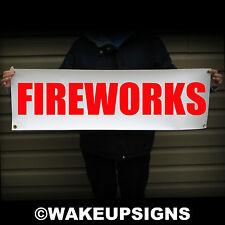 "FIREWORKS BANNER 38"" BY 12"" OUTDOOR VINYL SCRIM SIGN FIRE WORKS FLAG CAMPING"