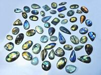 1500Crt Natural Labradorite Multi Flash Mix Cabochon Loose Gemstone 40Pcs Lot