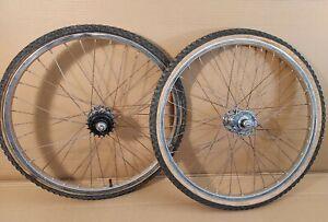 """Paire Roues BMX Old School Araya 20"""" 1.3/8è Argent moy. Suzue High Flange Wheels"""