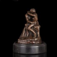 Art Deco handmade Sculpture Man Women Lovers Lovers kiss Bronze Copper Statue