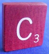 Single Maroon Scrabble Wood Letter C Tile One Only Replacement Game Parts Pieces