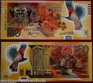 TRINIDAD & TOBAGO 50 DOLLARS 2014 Commemorative POLYMER BIRD UNC MONEY BANK NOTE