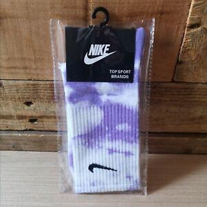 NEW Tie-dye Purple Nike socks size 5-8 * retro vintage custom style * tiedye *