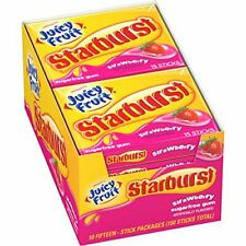 JUICY FRUIT STARBURST Chewing Gum, Strawberry, 15 Pieces (10 Pack)