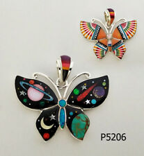 REVERSIBLE GALAXY MULTICOLOR TURQUOISE OPAL INLAY .925 SILVER BUTTERFLY PENDANT
