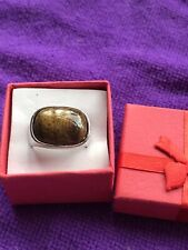 Stone Size N New In Gift Box Mens Silver Metal Fashion Ring Golden Brown