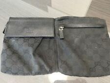 Gucci Logo GG Lona Bolsa de Cintura Riñonera Cinturón Riñonera Fanny Pack Negro Usado Ex + +