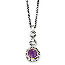 """Pendiente Amatista 18"""" Collar Plata de Ley .925 y Chapado Oro Shey Couture"""