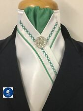 HHD WHITE SATIN SHOW STOCK TIE Green Embroidery & Piping Free Pin