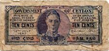 1942 British Ceylon 10 Cents VG RARE