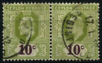 Ceylon 1903-5 SG#294, 10c Sage Green And Maroon KEVII Used Pair #D29235