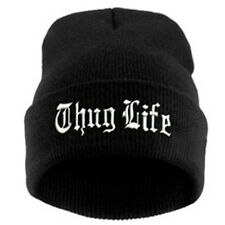 Thug Life Wool Knitted EMBROIDERED CUFFED BEANIE SKULL CAP. Free Shipping
