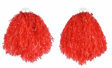 """POM POMS PAIR OF LARGE 10"""" RED CHEERLEADER SHAKERS USA SPORTS DANCE SCHOOL"""