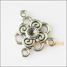 12 New Flower Connectors Tibetan Silver Tone Charms Pendants 17x20mm