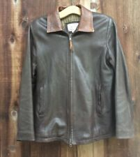 LONE PINE AMERICAN MADE BROWN LEATHER JACKET SIZE SMALL WOOL LINED EUC