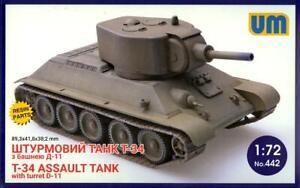 UM-MT Models 1/72 Soviet T-34 ASSAULT TANK WITH D-11 TURRET