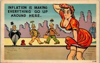 Inflation is Making Everything Go Up Here  1940's Era Humor Vintage Postcard