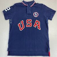 Ralph Lauren Polo Shirt Mens M Blue 2012 US Olympic Team Embroidered Hi Low Hem