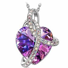 PURPLE LOVE NECKLACE CRYSTALS - CHRISTMAS GIFTS IDEAS FOR WIFE MOM GIRLFRIEND