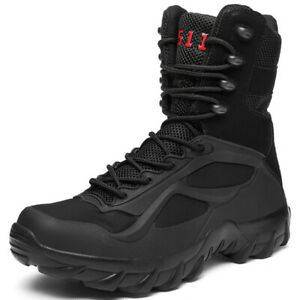 Black Leather SIDE ZIP Army Patrol Combat Boots Tactical Cadet Security
