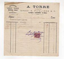 fattura antica - A. TORRE COTONERIE LANERIE - SETERIE 1891