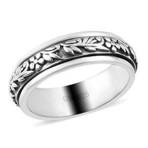 925 Sterling Silver Spinner Promise Band Ring Designer Gift For Women Size 11