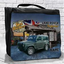Personalised Land Rover Defender Classic Car Vintage Travel Hanging Wash Bag