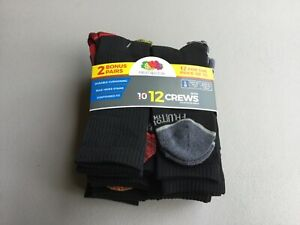 Boy's Fruit Of The Loom Crew Socks Lg. Shoe Size 3-9 Black w/ Multi 12 Pair #34U
