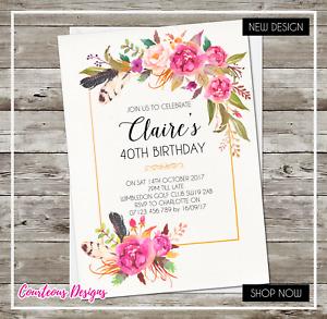 40th 50th 60th Birthday Invitations Personalised Invites 21st 30th 70th 80th