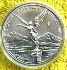 2015 2 oz Silver Libertad 2 Onzas Plata Pura Bullion Coin in Capsule Mexico Coin