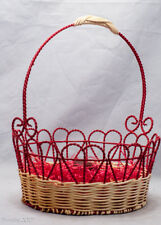 Colorful Red Heart Shape Spring Basket Metal Bunny Eggs Candy Holiday Decor