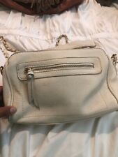 Forever 21 Crossbody Ivory Faux Leather Gold Studded Chain Purse Shoulder Bag