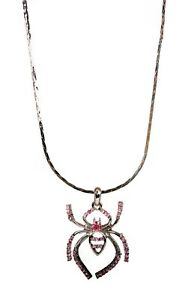 Crystals From Swarovski Spider Pendant Necklace Rhodium Plated Authentic 9118j