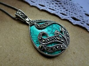 My S Collection 925 Sterling Silver, Marcasite & Turquoise Pendant with Chain