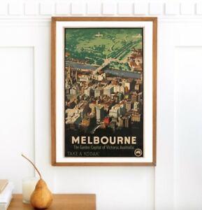 Vintage Image Retro Melbourne Garden Capital City New poster/print A2 Large