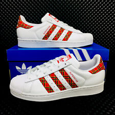 Adidas Originals Superstar Women's Athletic Sneakers White Red Shell Toe Shoes