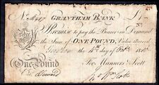 Grantham Bank: Lincolnshire, One pound, 4-10-1810, For; Manners & Scott, (Out...