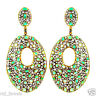 Pave 7.5ct Diamond Emerald Gemstone 14k Gold Dangle Earrings Silver Fine Jewelry