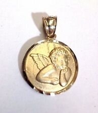 "Sweet! .80x.60"" Thinking Angel Solid 14K Yellow Gold Medallion Pendant | New LG"
