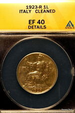 1923-R ANACS XF40 Details (Cleaned) Italy One Lire!! #E0820