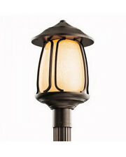 Kichler Olde Bronze And Feathered Cream Glass Exterior post Top Light