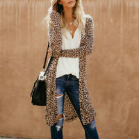 Women Long Sleeve Cardigan Leopard Print Kimono Shawl Blouse Jacket Coat