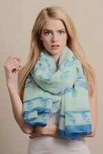 Leto SKULL PRINT long SCARF Shawl Wrap Coverup Sarong Mint & Blue
