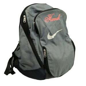 Nike Womens Backpack - Grey & Black with Embroidered Name 'Hannah' in Pink
